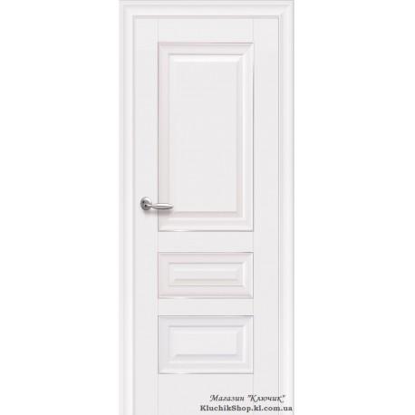 Двері Статус / Суцільні з молдингом / Декор білий матовий