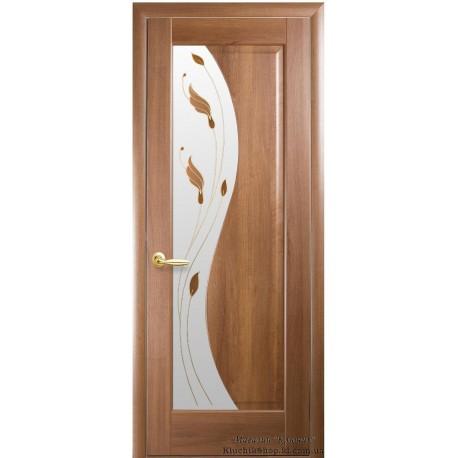 Двері Ескада / Скло сатин та мал. Р1 / Декор золота вільха