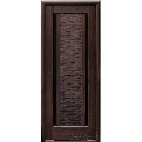 Двері Луїза / Покриття ПВХ-Deluxe / Чорне скло / Декор каштан
