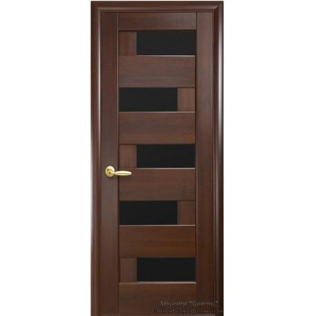 Двері Піана / Чорне скло / Декор каштан / Покриття ПВХ-Deluxe