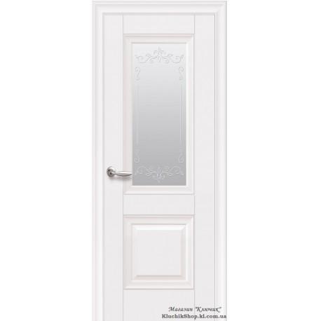 Двері Імідж / Скло сатин та мал. Р2 / Декор білий матовий