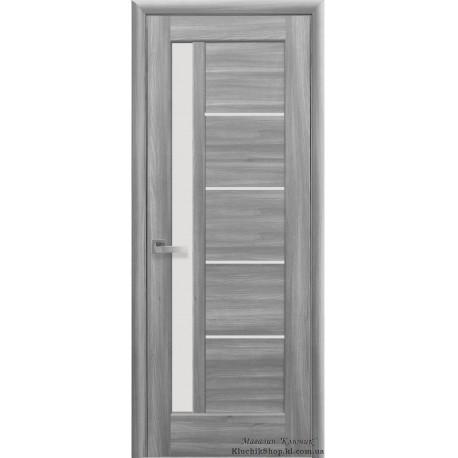 Двері Грета / Покриття ПВХ-Deluxe / Скло сатин / Декор бук попелястий