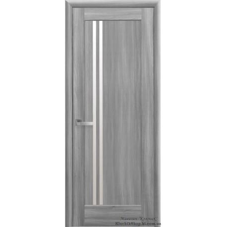 Двері Делла / Покриття ПВХ-Deluxe / Скло сатин / Декор Бук попелястий