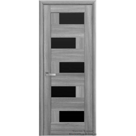 Двері Піана / Чорне скло / Декор бук попелястий / Покриття ПВХ-Deluxe