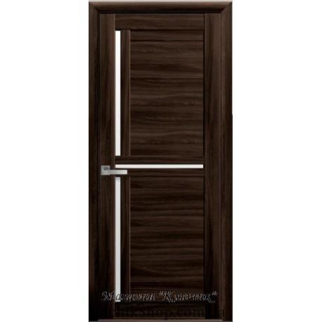 Двері Трініті / Скло сатин / Екошпон / Декор венге браун