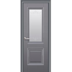 Двері Імідж / Скло сатин, молдинг та мал. Р2 / Декор антрацит
