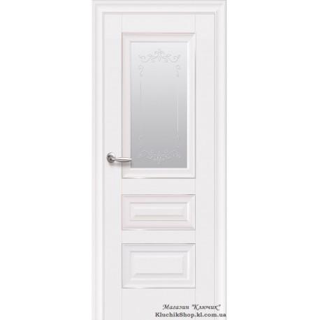 Двері Статус / Покриття преміум / Скло сатин, молдинг та мал. Р2 / Декор білий матовий
