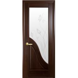 Двері Амата / ПВХ-Deluxe / Скло сатин та мал. Р2 / Декор каштан