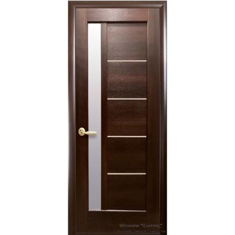 Двері Грета / Покриття ПВХ-Deluxe / Скло сатин / Декор каштан
