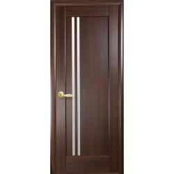 Двері Делла / Покриття ПВХ-Deluxe / Скло сатин / Декор каштан