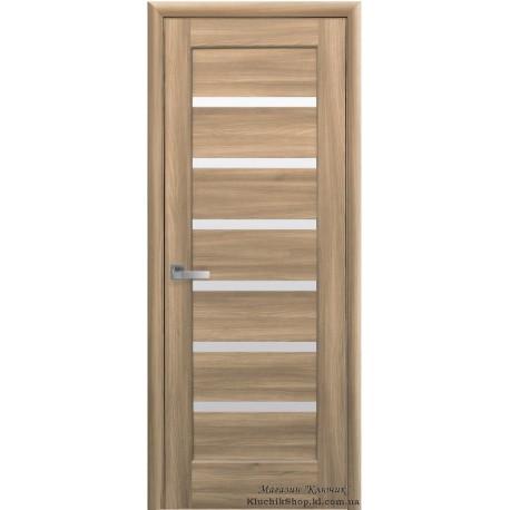 Двері Ліннея / Покриття ПВХ-Deluxe / Скло сатин / Декор дуб золотий