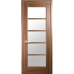 Двері Муза / Скло сатин / Декор золота вільха / Покриття ПВХ-Deluxe