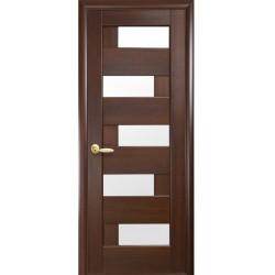 Двери Пиана / Стекло сатин / Декор каштан / Покрытие ПВХ-Deluxe
