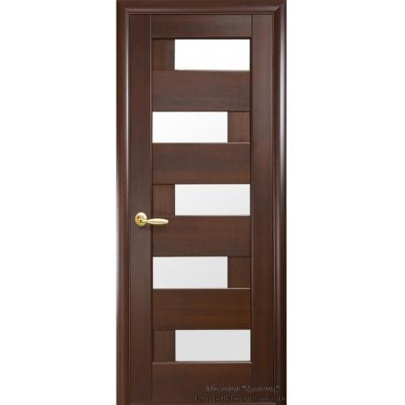 Двері Піана / Скло сатин / Декор каштан / Покриття ПВХ-Deluxe