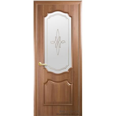 Двері Рока / Покриття ПВХ-Deluxe / Скло сатин та мал. Р1 / Декор золота вільха