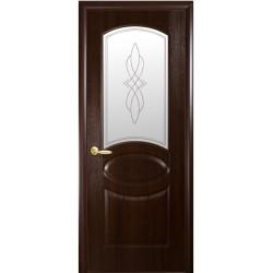 Двері Овал / ПВХ-Deluxe / Декор каштан
