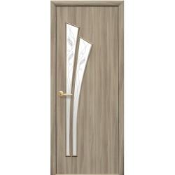 Двері Лілія / Покриття екошпон / Скло сатин та мал. Р3 / Декор сандал