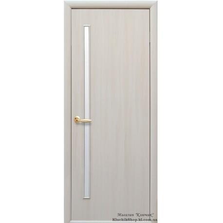 Двері Глорія / Покриття екошпон / Скло сатин / Декор дуб перлинний
