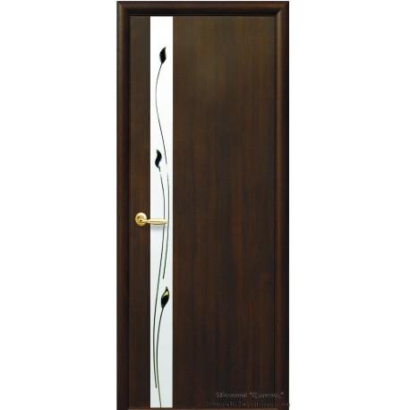 Двері Злата / ПВХ-Deluxe / Дзеркало та мал. Р1 / Декор каштан