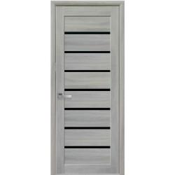 Двери Леона / Экошпон / С черным стеклом / Декор ясень патина