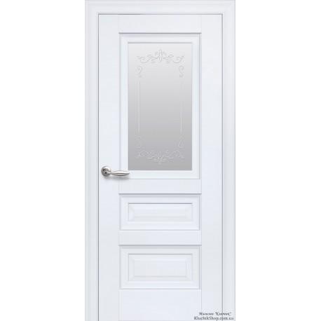 Двері Статус / Скло сатин та мал. Р2 / Декор білий матовий