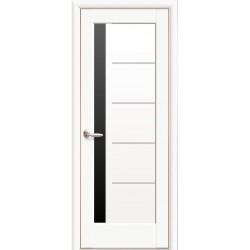 Двері Грета / Чорне скло / Декор білий матовий / Покриття преміум