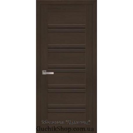 Двері Віченца С1 / Чорне скло / Декор перлина кавова / Покриття смарт
