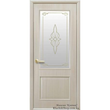 Двері Вілла / Покриття ПВХ-Deluxe / Скло сатин та мал. Р1 / Декор Ясень New