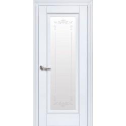 Двері Престиж / Скло сатин та мал. Р2 / Декор білий матовий