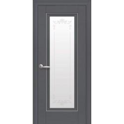 Двері Престиж / Скло сатин, молдинг та мал. Р2 / Декор антрацит