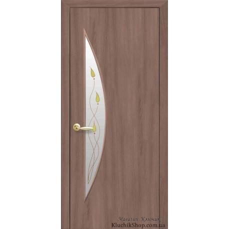 Двері Луна / Екошпон / Скло сатин та мал. Р1 / Декор вільха 3D